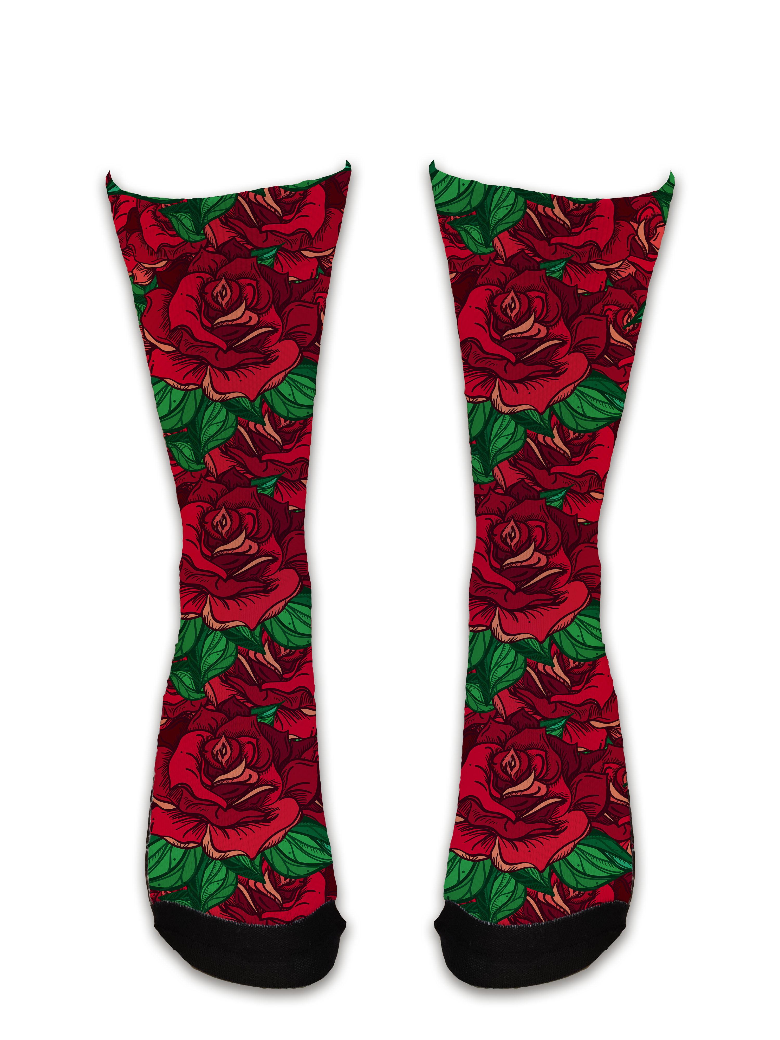 Meia Sublimada - Flores Rosa Grande